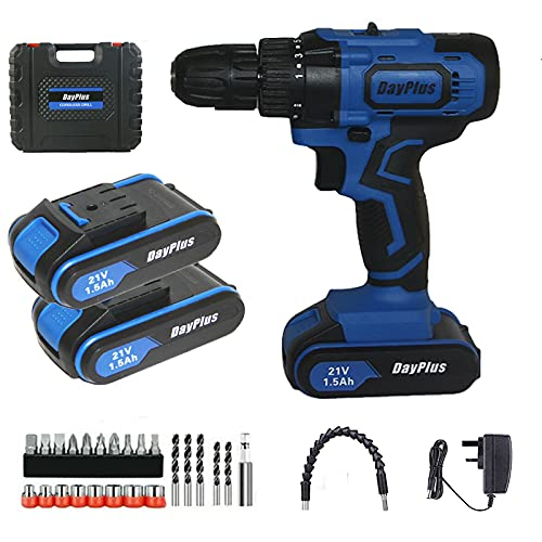 21V Cordless Drill Driver 45Nm, 2×1500mAh Li-Ion Batteries Combi Drill, Electric Screwdriver, Quick Charger, High/Low 2 Speed with LED Work Light, 29PC Accessory Kit + Carry Case