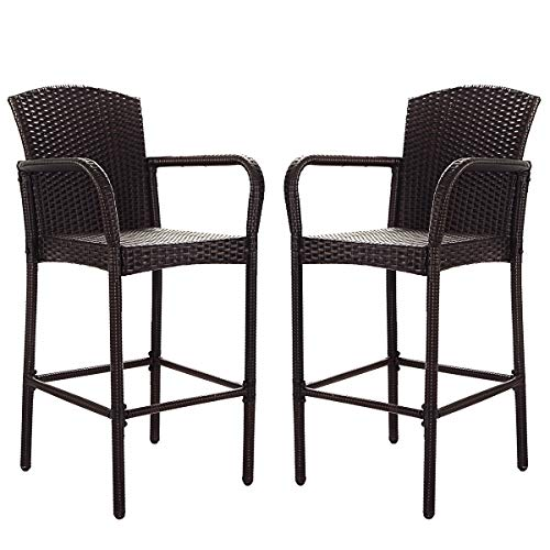 COSTWAY Rattan Wicker Bar Stool, Outdoor Backyard Chair Patio Furniture with Armrest Rattan Wicker Set of 2 Barstools (Mix Brown)