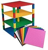 Pack de 12 bases apilables con 80 ladrillos separadores 2x2 - Construcción en forma de torre - Compatible con todas las marcas - Azul, verde, gris, negro, marrón, naranja, rosa y otros - 25,4x25,4 cm