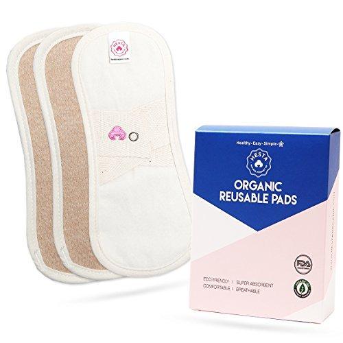 Hesta FDA Registered Organic Reusable Waterproof Cloth Pantyliners, PMS Relief Set of 3(Brown)