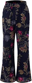 Qootent Women Wide Leg Pants Cotton Loose Printed Trousers Yoga Flared Pants