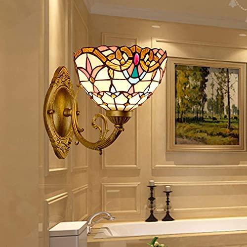 WENHAO Bellamente estilo lámpara de pared Sconces LED E27 Vidrio de manchas Lámparas de iluminación de pared barroca con la luz delantera de la pared del dormitorio de la base de metal, 2pack / Código
