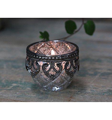 Chic Antique Teelichthalter Windlicht Kerzenglas 5,5 x 6,5 cm Glas antiksilber bauernsilber Deko Landhaus Nostalgie Shabby French