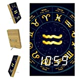 Dormitorios Despertador Digital de cabecera Reloj despertador LED con puerto USB para carga, oficina y decoración del hogar Reloj de oro signo del zodiaco Acuario 6.2x3.8x0.9 pulgadas