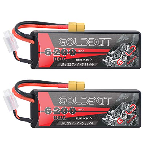 GOLDBAT 2S RC Battery 7.4V 80C 6200mAh RC LiPo Battery Hardcase Pack with XT60 Plug for RC Car Evader RC Truggy Buggy RC Helicopter LKW Truck Evader RC Hobby (2Packs)