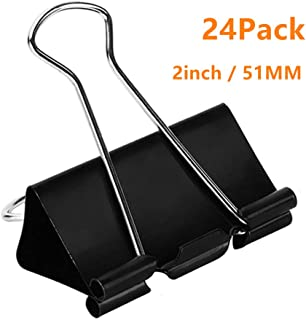 Coofficer Extra Large Binder Clips 2-Inch (24 Pack), Big Paper Clamps for Office Supplies, Black