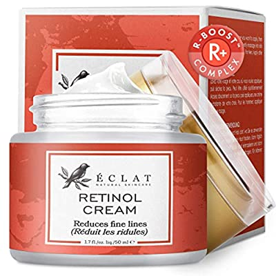 𝗔𝗗𝗩𝗔𝗡𝗖𝗘𝗗 Retinol Moisturizer Cream for Face/Neck/Eyes - 5X More Powerful Cold Processed Anti-Ageing Cream - Reduces Wrinkles/Lines/Acne/Aging - 100% Vegan/Dermatologist Developed by Eclat Skincare