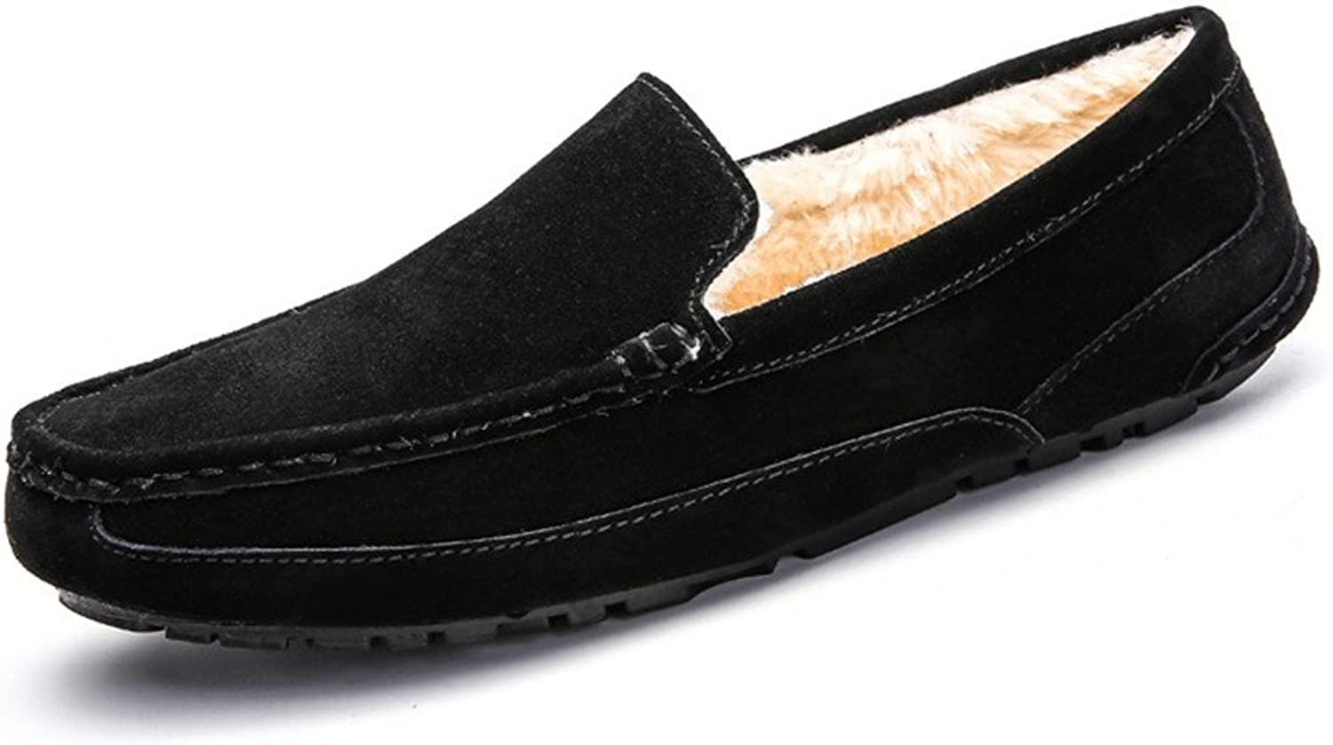 Leather Driving shoes Men's Stylish casual comfort classic Driving Penny Loafers Handwork Suture Suede Genuine Leather Moccasins Boat shoes Lazy Driving shoes (color   Warm-Black, Size   7 UK)