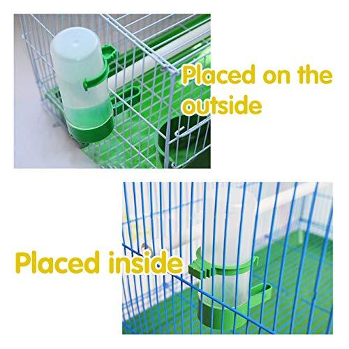 QX-Pet Supplies 2 Pack Automatic Bird Feeder Bird Water Bottle Drinker Container Food Dispenser Hanging in Birds Cage for Parrots Budgie Cockatiel Lovebirds 60ml & 150ml