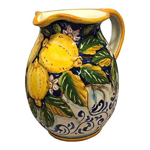 CERAMICHE D'ARTE PARRINI- Italienische Kunstkeramik, Krug, Wein, Dekoration zitronen, handgemalt, hergestellt in Italien Toscana