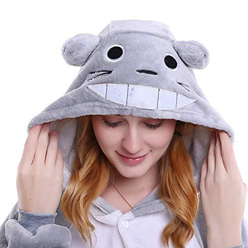 KKCF Gris Linda Totoro Bodies Mono, Franela de una Sola Pieza Flojo Pijamas de Disfraces de Halloween para Adultos Pijamas Unisex Pjs,XL