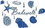 GRAZDesign Baddekoration Meine Badewelt - Klebefolie maritim Muscheln und Seesterne - Wandtattoo über Badewanne oder Dusche / 48x30cm / 650140_30_052