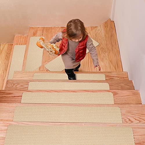 DanceWhale Set di 15 Tappetini per Scale (20 x 76cm), Antiscivolo Autoadesiva Sicurezza Tappeto per Bambini, Anziane e Animali Domestici,...