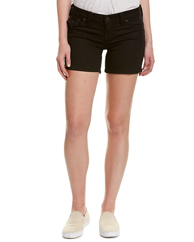 True Religion Women's Basic Midcut Off Denim Shorts w/Flaps in Black