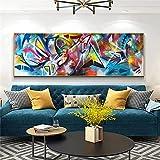 Arte de pared Pintura Decoración del hogar Impresiones en lienzo abstracto Graffiti callejero Carteles e impresiones Imagen de pared para sala de estar 60x180cm (24x71in) Con marco