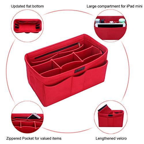 Multi-Pocket Felt Bag Handbag Organiser Liner, Red