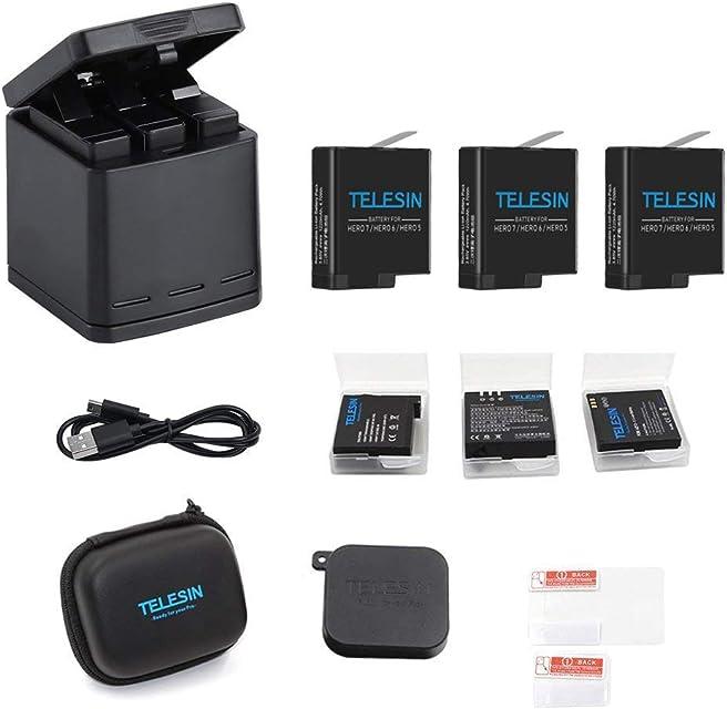 TELESIN Triple Charger Battery Set-Charging Box + 3 baterías con estuches de almacenamiento cubierta de lente de la cámara y lente Film 6 en 1 Kit de accesorios para GoPro Hero8 black/Hero7/Hero 6/5
