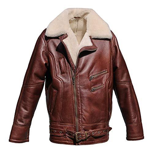 Hollert German Leather Fashion Lammfelljacke - VANDAMM Herren Lederjacke Felljacke Bikerjacke Größe L, Farbe kastanienbraun