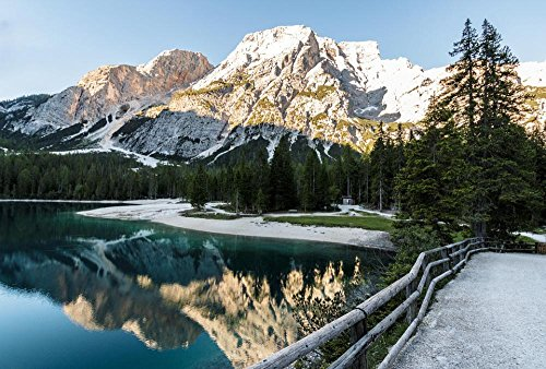 LAMINATED 35x24 Poster: Lake Bergsee Panorama Nature Park Dolomites Mountain Lake Alpine Mountains Wallpaper Hd Wallpaper Nature Wallpaper