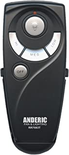 Hampton Bay UC7083T Ceiling Fan Remote Control Replacement by Trusted Anderic Brand - 1-Year Warranty - Black (Standard (Light, High, Med, Low, Off Keys))