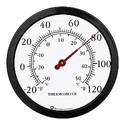Bjerg Instruments 12 Steel Enclosure Decorative Indoor/Outdoor Patio Wall Thermometer (Black)