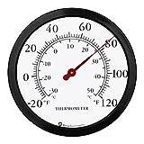 Bjerg Instruments 12' Steel Enclosure Decorative Indoor/Outdoor Patio Wall Thermometer (Black)