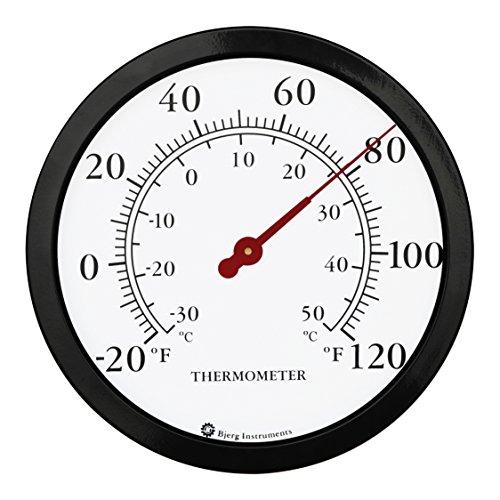 Bjerg Instruments 12  Steel Enclosure Decorative Indoor Outdoor Patio Wall Thermometer (Black)