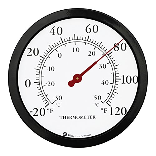 Product Image 1: Bjerg Instruments 12″ Steel Enclosure Decorative Indoor/Outdoor Patio Wall Thermometer (Black)