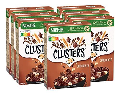 Nestlé Clusters Schokolade, Cerealien aus 59{ac021d77bac93b20d89b32f79e4fad6e9d5444e9415dc759721d827870e5928b} Vollkorn, mit Schokolade & Mandeln, enthält Vitamine, Calcium & Eisen, 7er Pack (7 x 375g)