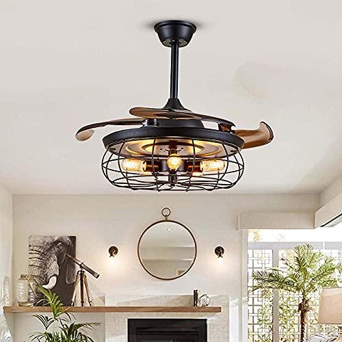 Vintage techo ventilador con luces industrial lámpara de control remoto lámpara reversible iluminación accesorio silencioso motor para dormitorio sala de estar