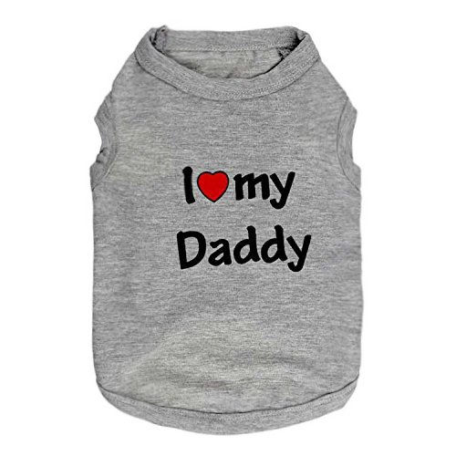 DroolingDog Small Dog Clothes Pet T-Shirt I Love My Daddy Puppy Apparel for Small Dogs, Medium, Grey