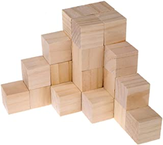 Supla 40pcs 1.5inch - Natural Solid Wood Square Blocks Wood Cubes Wood Cube Blocks – for Puzzle Making, Crafts, and DIY Projects (40pcs)