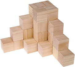 Supla 40pcs 1.5 inch - Natural Solid Wood Square Blocks Wood Cubes Wood Cube Blocks – for Puzzle Making, Crafts, and DIY P...