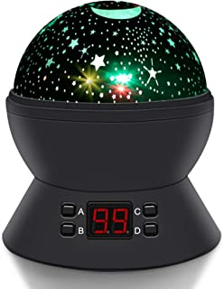 Round Shape Rotating Star Projector,Relaxing Automatical Timer Sky Night Light, Star Planetarium Space for Toddlers Baby Kids Gift to Create The Ideal Sleep Environment (Black)
