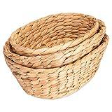 Decorasian 3er Set Schalen Körbchen geflochten aus Wasserhyazinthe - rund oval Aufbewahrung