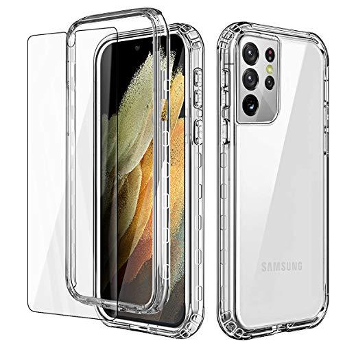 AICase Cover per Samsung Galaxy S21 Ultra,Custodia per Samsung S21 Ultra 5G 360 Gradi Rugged Cover Antiurti Protezione Resistente Trasparente Case per Samsung Galaxy S21 Ultra 6.8''