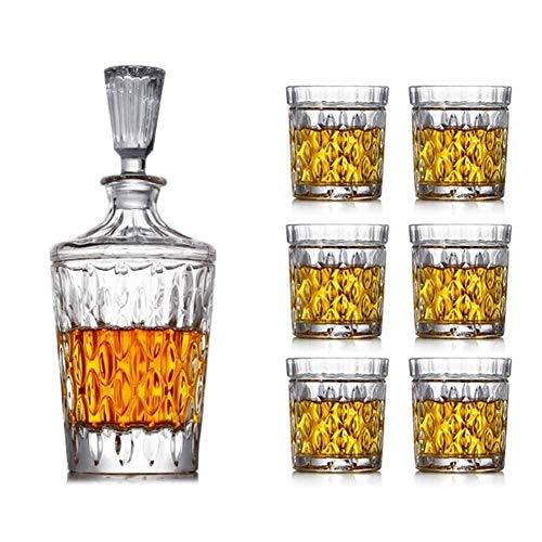 Decantador de whisky Decantador de vino de 7 piezas, juego de decantador de vino grande, jarra de bar y 6 copas de vino de whisky con tapón de cristal, juego de decoración de vino, bodega (color: C)