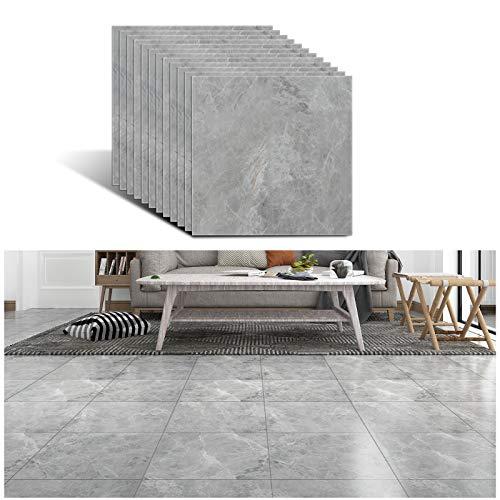 VEELIKE 30 cm x 30 cm, 12 unidades de adhesivos para azulejos de mármol gris vinilo azulejos para pegar en azulejos, azulejos de cocina, cenefa, baño, etc.