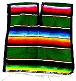 Mexican Poncho Unisex Bright Striped Cotton...