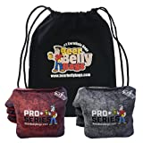 Beer Belly Bags Pro Plus Competitive Cornhole Bags ACL Approved Regulation Resin Fill Set of 8 Includes Drawstring Carry Tote Made in USA (Red/Black)