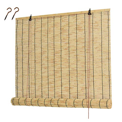 CMJM Bamboo Roller Shades Roll-up Reed Shade, Natural Bamboo Blinds Outdoor for Living Room Balcony Pergola Breathable/Sunshade With Accessories
