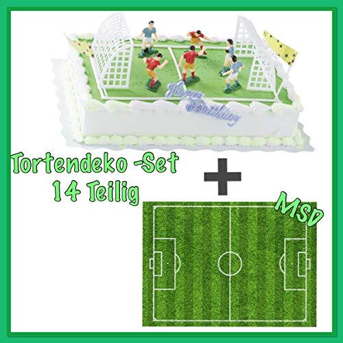 MSDeko taartdecoratie set verjaardag voetbal 14-delig