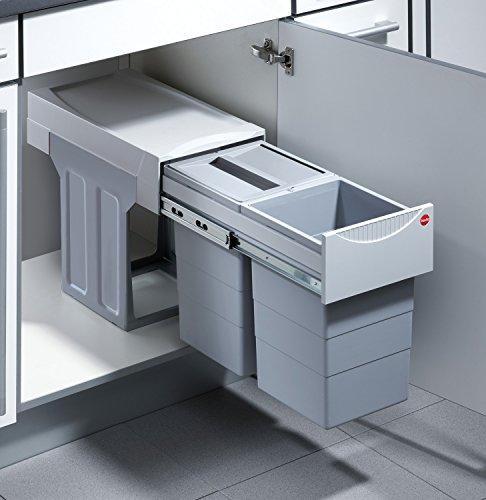 Hailo Tandem Küchen-Abfalleimer, Kunststoff, grau