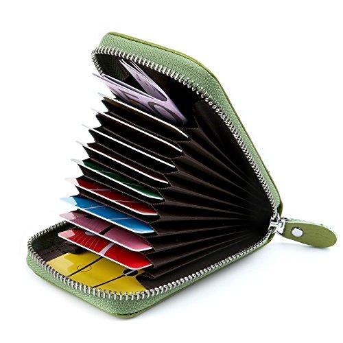 AirZyx AirZyx Kreditkartenetui Damen Leder RFID Schutz Reißverschluss (Grün)