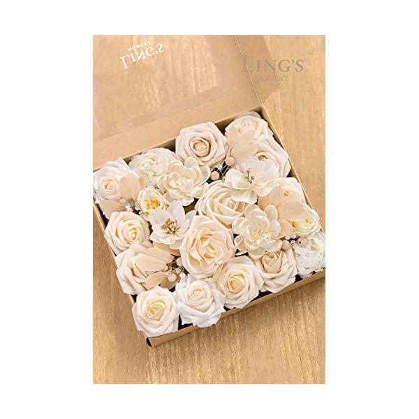Ling's moment Artificial Flowers Combo Box Set for DIY Wedding Bouquets Centerpieces Arrangements Bridal Shower Party Home Decorations