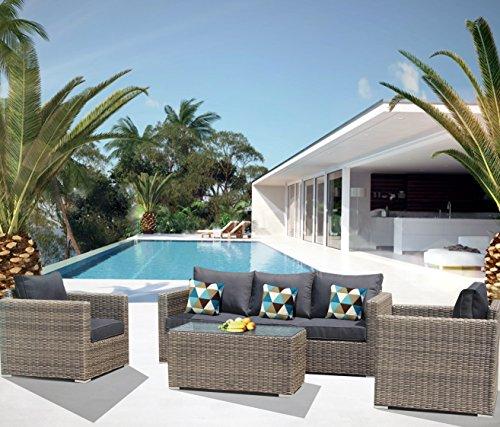 Luxurygarden® canapé de Jardin en rotin 3 Places Salon d'extérieur modèle Andresa