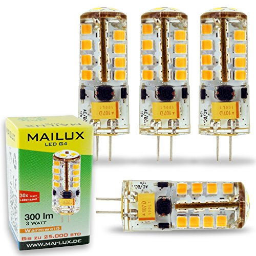 MAILUX LED | G4 | Stift | 3W | 300lm | 27 SMD | dimmbar | (warmweiß, 4er Pack)