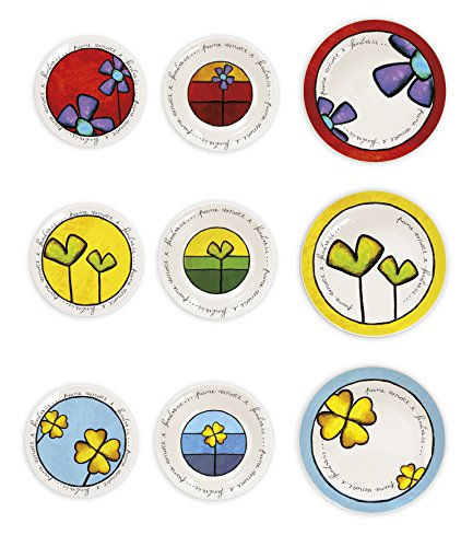 Egan PAF61T/18X Set Piatti, Fondi Piani Dessert, Porcellana, Multicolore, 18 unità