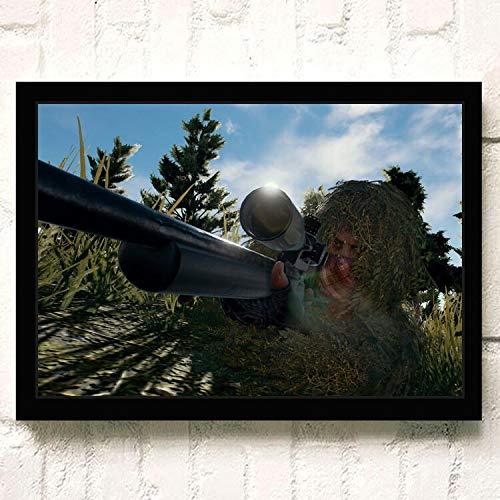 SDFSD PUBG 3D Online FPS Juego táctico competitivo Carácter Arma Cartel Decoración para el hogar Guardería Niños Habitación Pared Arte Lienzo Pintura 60 * 100 cm