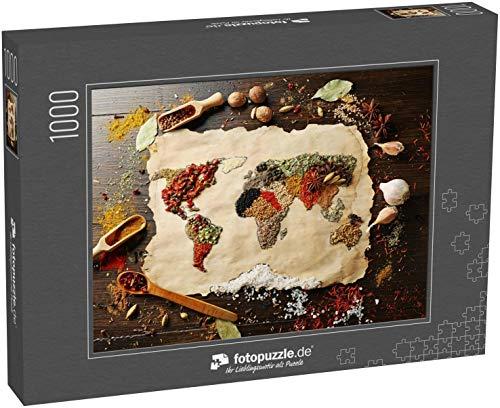Puzzle 1000 Teile Weltkarte aus verschiedenen Gewürzen auf Holzuntergrund - Klassische Puzzle, 1000 / 200 / 2000 Teile, edle Motiv-Schachtel, Fotopuzzle-Kollektion 'Essen' (1000, 200 oder 2000 Teile)